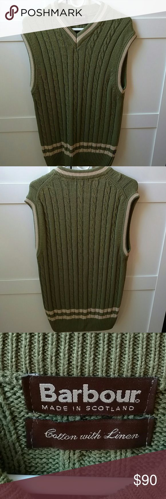 Vintage Barbour vest, green and beige This is a great vintage cable knit Barbour vest.  Made of cotton, linen, and viscose.  Excellent vintage condition Barbour Sweaters V-Neck