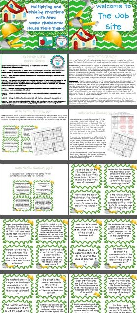 $3.50 Area with Fractional Sides Task Cards (multiply and divide fractions) House Plans-real-world connections. The division cards might be a good fit to our standard or could be modified.