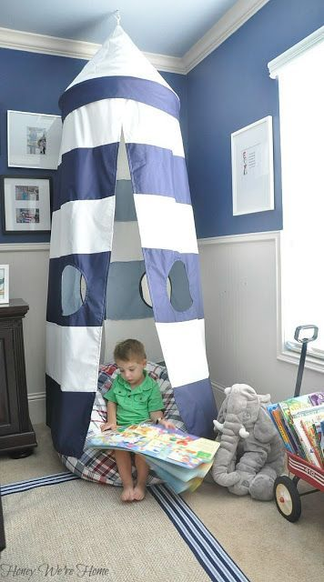 Reading nook - big boy room  Hope Benjamin loves to read like his Mommy! Also love the wagon used as a book caddy!