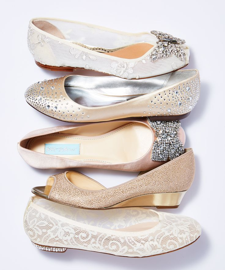 Looking for something a bit more comfortable? We've got you covered!   From top to bottom:  Aruna Seth peep-toe flat from  Kleinfeld at Hudson's Bay ; Nina ballet flat from  David's Bridal ; Blue By Betsey Johnson from  David's Bridal ; Nina rose gold peep-toe wedge from  Nina Shoes ; Harriet Wilde ballet flat from  BHLDN .   Photo by Carlo Mendoza. Styling by Tara Williams.