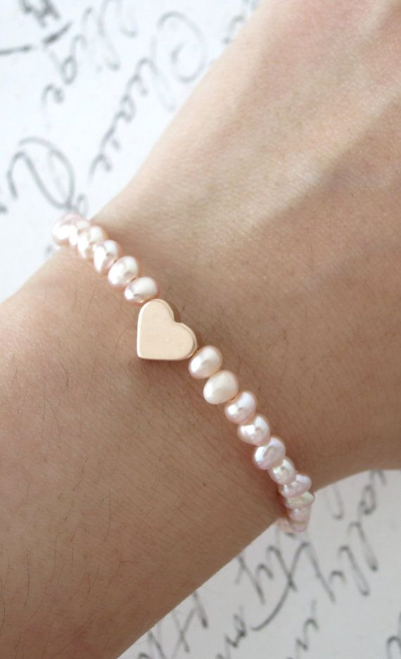 rose gold love freshwater pearls bracelet rose by colormemissy