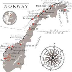 Hurtigruten ports of call.  Larger cruise lines don't stop at this many, or at ports so small... however Hurtigruten stops at 34 of them!  This would be great to use to travel around for my family history searches!