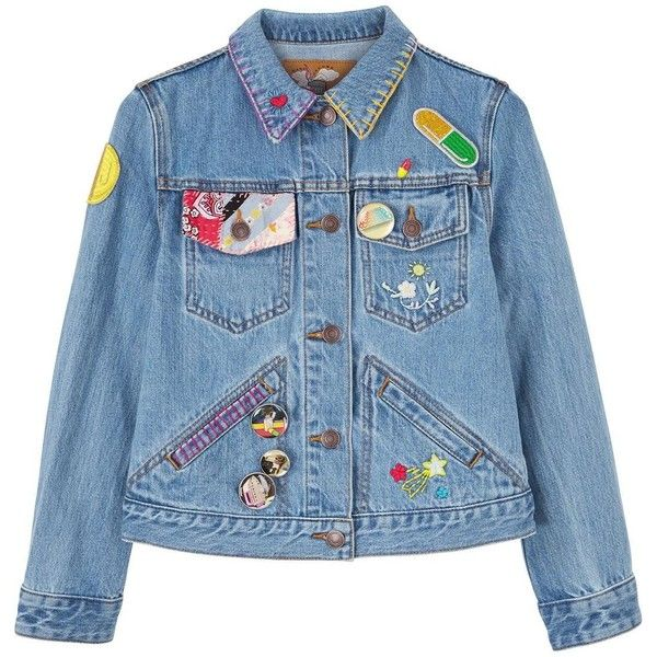 Marc Jacobs Shrunken Denim Jacket With Embroidery ($505) ❤ liked on Polyvore featuring outerwear, jackets, embroidered denim jackets, blue jackets, jean jacket, denim jacket and blue jean jacket