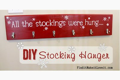 DIY stocking hanger. For all those out there that may not have a mantle. Just in time for Christmas. Finditmakeitloveit