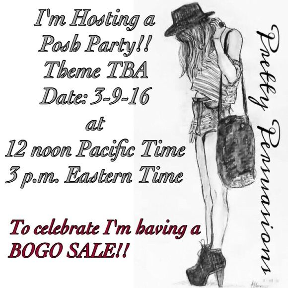 "HOSTING A PARTY & CELEBRATING with a BOGO SALE SURPRISE BOGO SALE to celebrate hosting a posh party!!!!! I'm thrilled to host on 3-9-16 at 12 p.m. Pacific Time/3 p.m. Eastern Time!! Soooo, for a limited time ~ Buy 1 Get 1 of equal or lesser value half off!! (Only exclusions are my RETAIL items that are marked as ""NWT RETAIL""!) HAPPY SHOPPING!!! Xoxoxo Free People Dresses"
