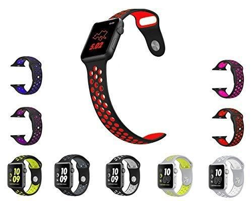 Vitech Soft Silicone Nike Sport Style Replacement Strap band for Apple Wrist Watch Series 1 Series 2 (42mm M/L Black/Red)