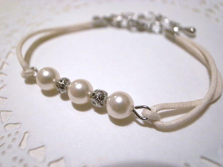 Adjustable cream white wax cord bracelet w/ white pearl and round metal beads / friendship bracelet