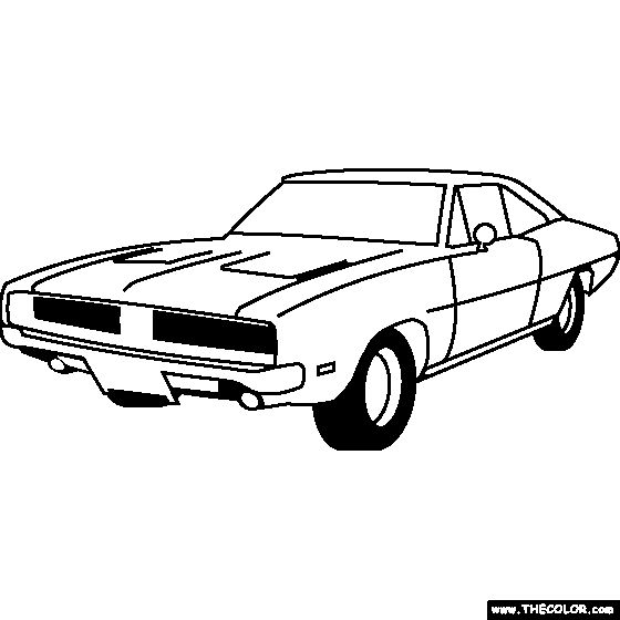 dodge hemi charger 1968 coloring page