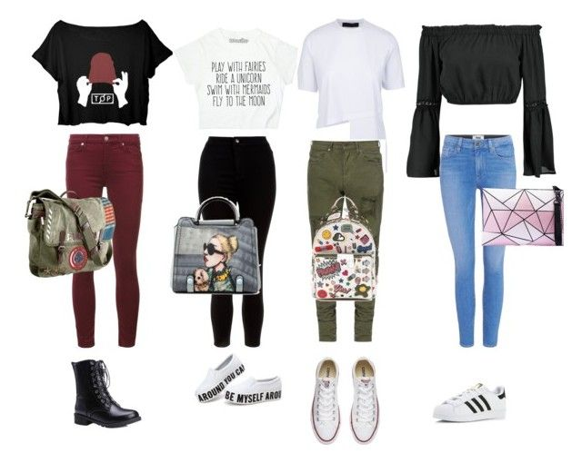 """Untitled #7"" by nataschahuibers on Polyvore featuring Boohoo, New Look, 7 For All Mankind, Paige Denim, Converse, adidas, Marvel and Anya Hindmarch"