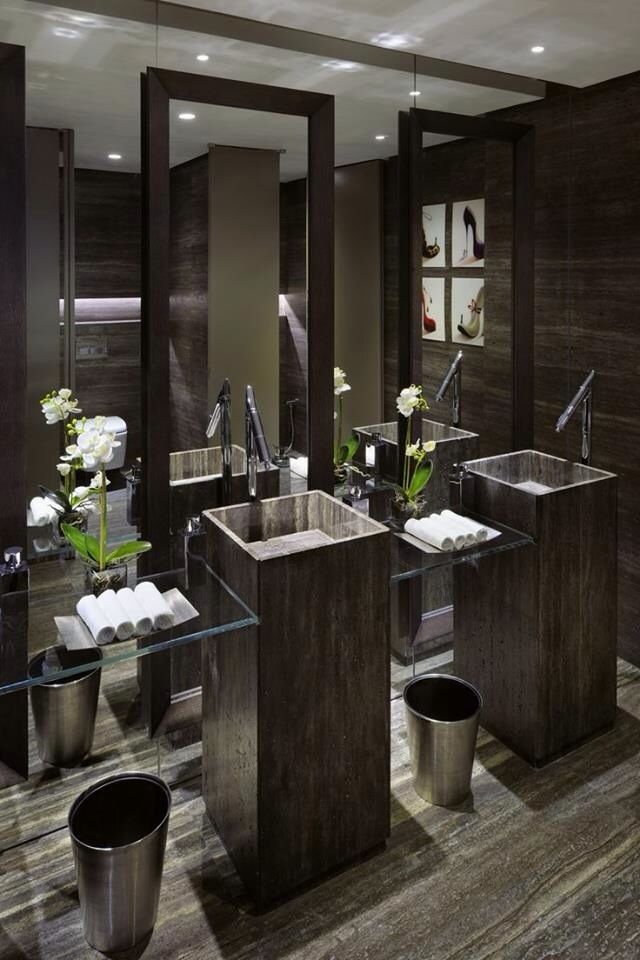 oooooh that sink!!!  beautiful  Contemporary, dark but clean Marble floors, stone pedestals, glass shelves
