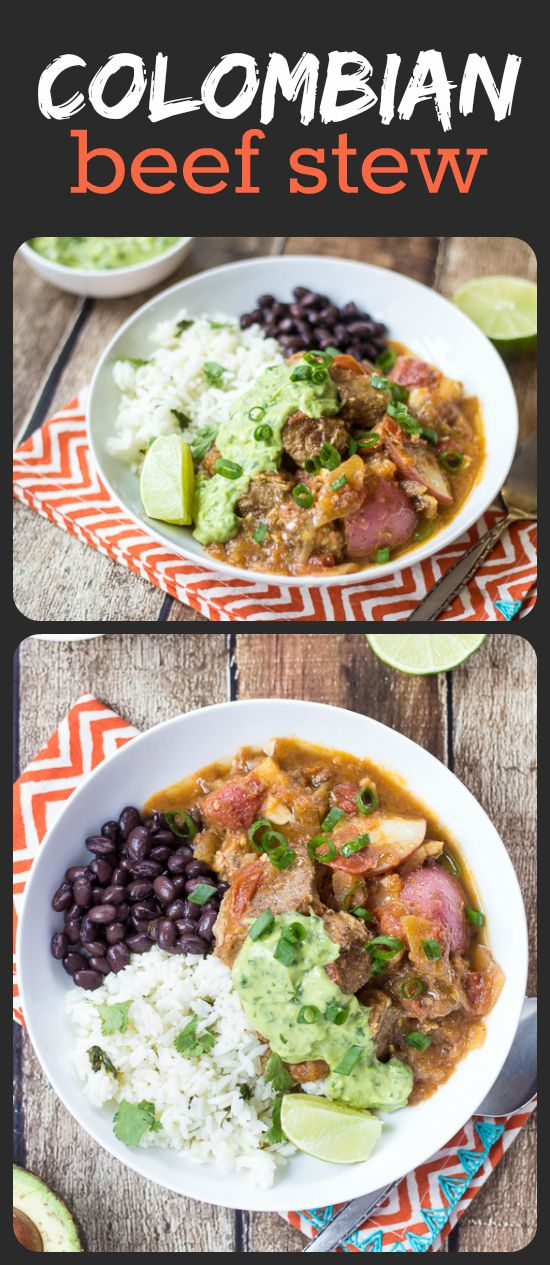 Colombian Beef Stew (Carne Guisada) - I could put that creamy avocado-cilantro sauce on ANYTHING!