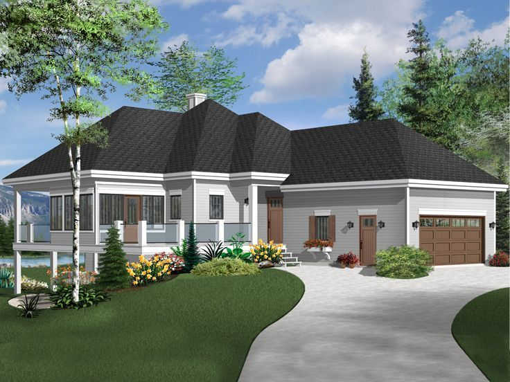 027h 0491 One Story Waterfront House Plan With Finished Lower Level 2596 Sf Narrow Lot House Plans Lake House Plans House Plans