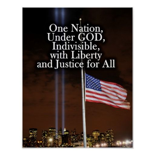 One Nation Under God, Indivisible, with Liberty and Justice for All (Pledge of Allegiance) USA Patriot Day 9/11 Remembrance Patriotic Twin Light towers with American Flag at half-mast.