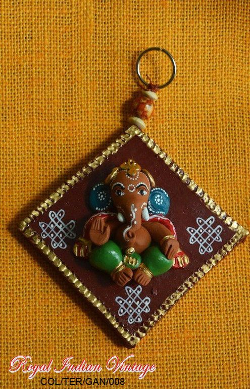 Terracotta Baby Ganesha Diamond Shape Wall by ForTheHomeandBeyond