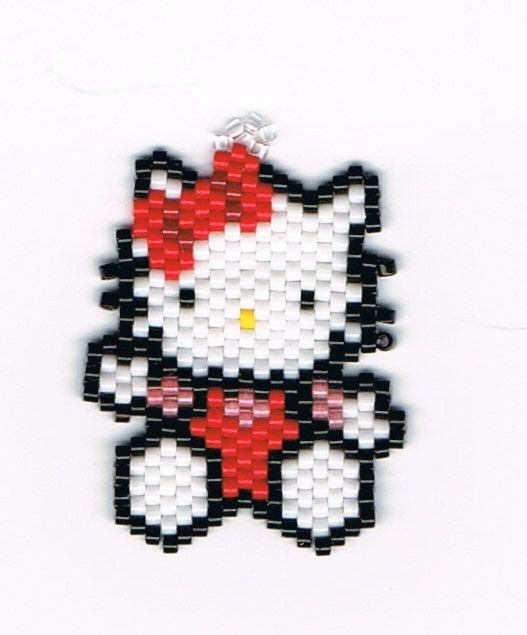 Hand Beaded Hello Kitty earrings by beadfairy1 on Etsy