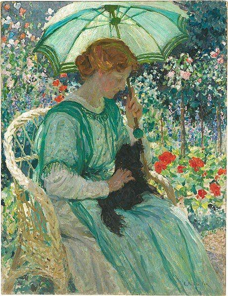 "Emanuel Phillips Fox (1865 -1915): ""The Green Parasol"",  1912"