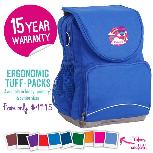 Get your kids ready for SCHOOL with an Ergo Tuff-Pack™: It's the ultimate school bag! They are ERGONOMIC, endorsed and come with an INCREDIBLE 15 year WARRANTY! You can even personalise them with a cute design. Lots of colours and sizes to choose from! Head over to www.schoolbags.com.au now!  #Schoolbags #backtoschool #personalised #school #bts2014