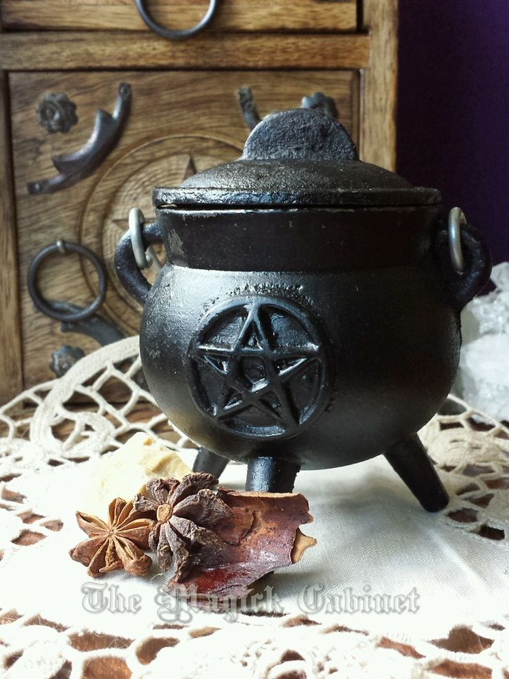 FREE SHIPPING on your first order no matter how heavy it is. Witch's Cauldron with Pentacle for your Altar, Cast Iron Cauldron, Cauldron with Handle, Incense Burner, Wicca Altar, Pagan, Witch, Ritual Tools, $22.95