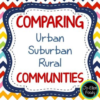 Comparing Communities - Urban, Suburban, & Rural - When beginning to learn about urban, suburban, and rural communities, the first thing that students must learn is the differences between them and its a hard thing to do! I've created these pages to help your students get them straight once and for all!