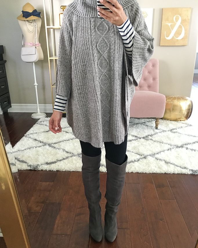 Petite friendly grey Cable-Knit Cowl-Neck Poncho, Striped turtleneck, Noble over the knee OTK boots, petite outfits, fall outfit, petite friendly OTK boots, click the photo for outfit details!