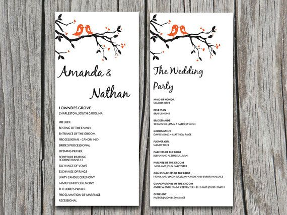 wedding programs templates for word