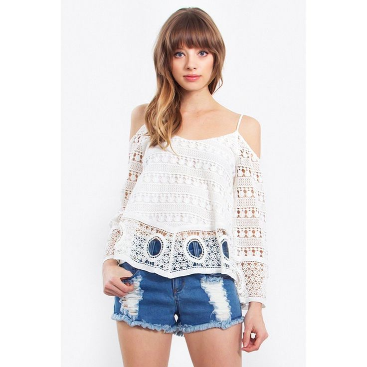 Bohemian inspired crochet cold shoulder top. Finish the look with denim shorts and gladiator sandals.