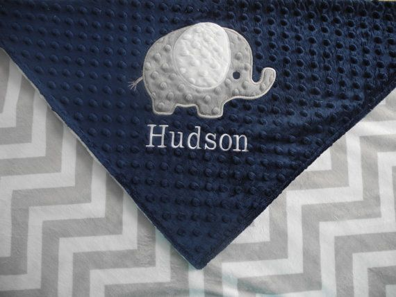 Personalized Baby Blanket Elephant on Grey by TheCherryCheetahs, $50.00
