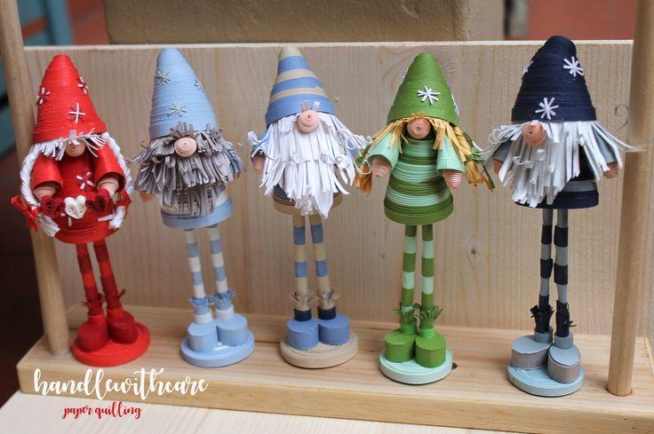 Mi sono ispirata alle tradizioni scandinave per i miei progetti natalizi 2016 Gnomi di carta realizzati con la tecnica del paper quilling, utilizzando strisce di carta dello spessore di 5 millimetri