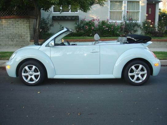 VW Beetle Convertible in Aquarius Blue  w/ white hydrangea in the holder <3