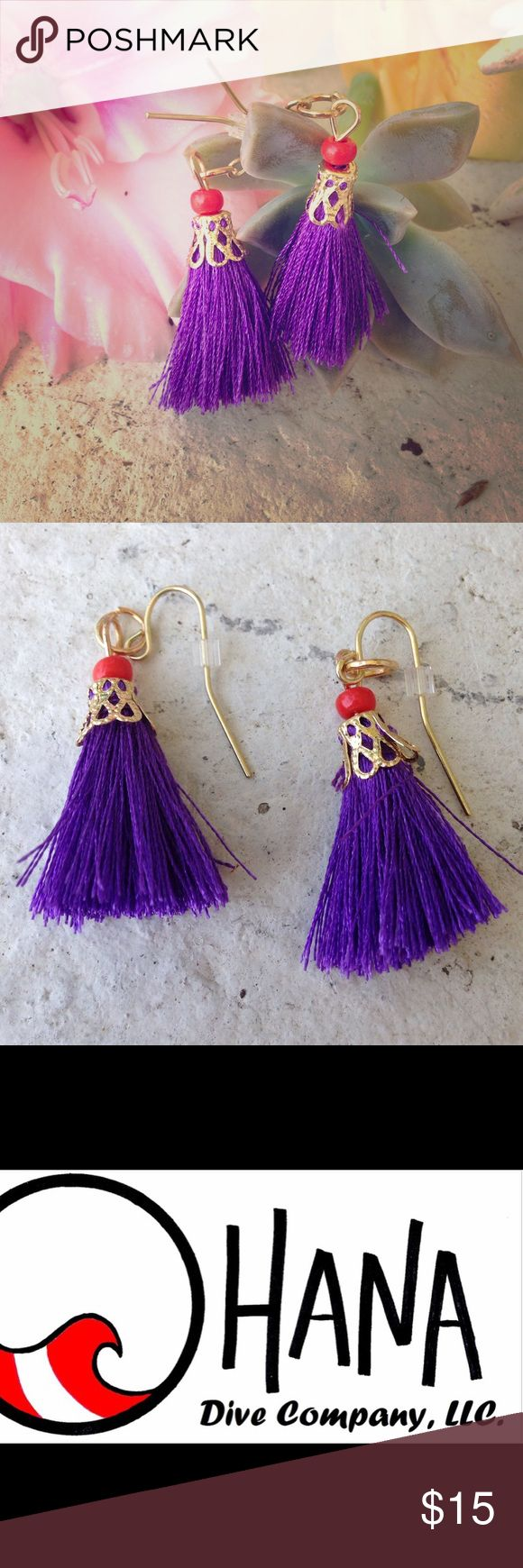 Royal purple tassel earrings Really fun to add to a summer out fit! The tassels are about the size of a quarter. Perfect for that beach surfer girl! All shark teeth products are shark safe and no sharks were harmed in the making of our jewelry! On trend right now! Boho chic! Ocean, beach, tropical, tassel, seashell, shark tooth. Scuba dive, turquoise, purple, pink. Necklace mermaid The Ohana Dive Company Jewelry