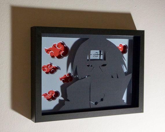 Itachi Akatsuki framed hand paper cut naruto gift by FairyCherry