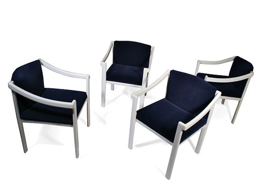 ready to buy them now - vintage asian dining chairs with navy velvet reupholstery