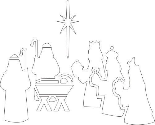 Free Printable Nativity Stencil, maybe I can print this on