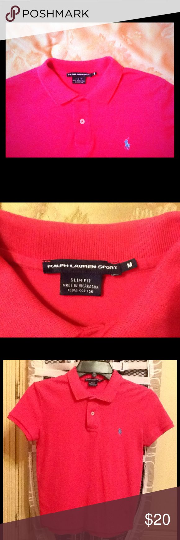 Ralph Lauren Sport polo shirt Hot pink colored Ralph Lauren Sport polo shirt.  Excellent condition.  Polo logo in light blue color.  Slim fit style Ralph Lauren Sport Tops Tees - Short Sleeve