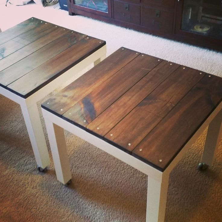 Ikea Lack Hack - add a weathered, industrial look to your inexpensive Lack tables with knotted pine and metal wheels