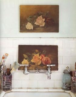 Love vintage floral prints: Modern Bathroom Design, Art Studios, Bathroom Interiors, Subway Tile, Vintage Floral, Vintage Rose, Oil Painting, Design Bathroom, Kitchens Sinks
