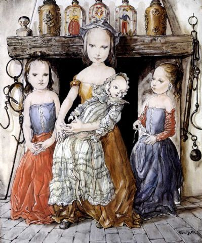 Girls with a Doll - Tsuguharu Foujita