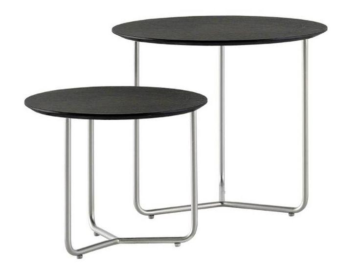 Nest of tables , 2pcs , black-stained oak veneer/brushed steel