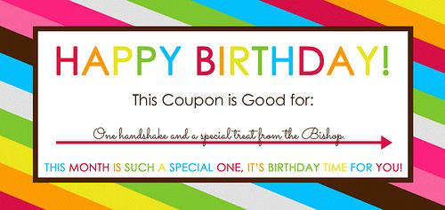 Printable Birthday Coupon for Primary - Bishop