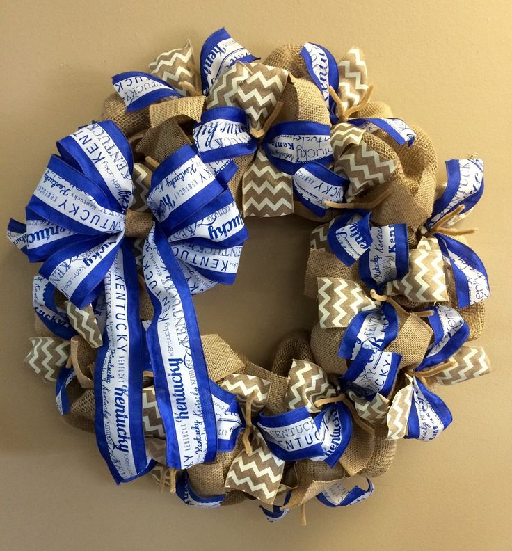 University of Kentucky UK KY Wildcats Fan Burlap Wreath Blue White - Basketball Football College by CustomDecorAndGifts on Etsy https://www.etsy.com/listing/228102103/university-of-kentucky-uk-ky-wildcats