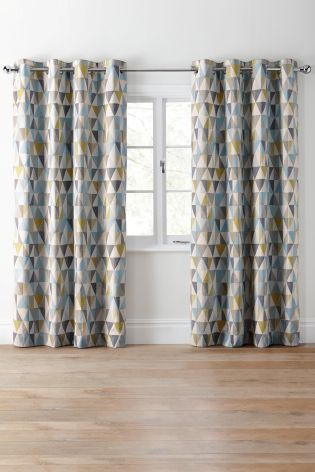 Buy Textured Geo Print Eyelet Curtains Online Today At
