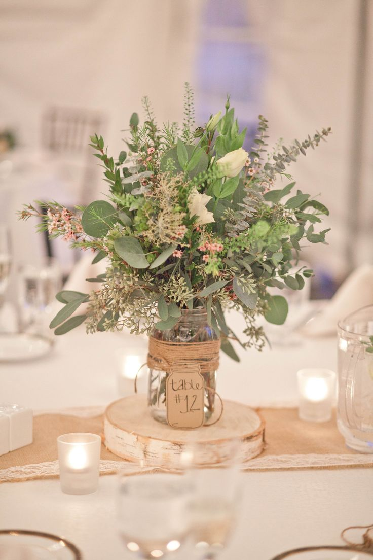 pictures of wedding centerpieces using mason jars%0A Fall New England Farm Wedding  Greenery CenterpieceMason Jars