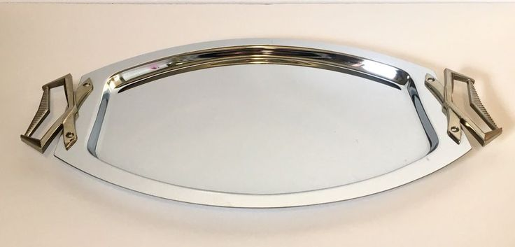 Kromex Holiday Mid Century Modern Serving Tray 2-Tone Silver w/ Gold Handles