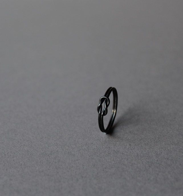 Oxidised silver Knot ring