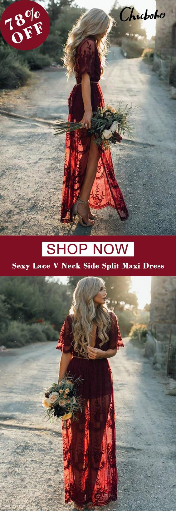Pretty Sexy Lace Solid Color Short Sleeve Deep V Neck Side Split Maxi Dress 2