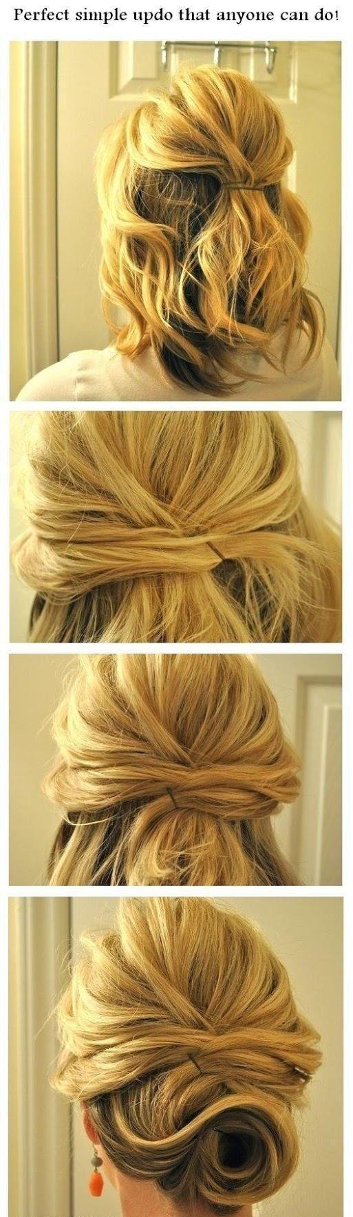 Si tienes el pelo corto, entrecruza el cabello para un efecto de moño desordenado.