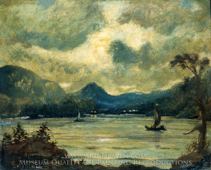Louis Michel Eilshemius Sailing at Moonlight, Samoa Painting Reproduction Art On…