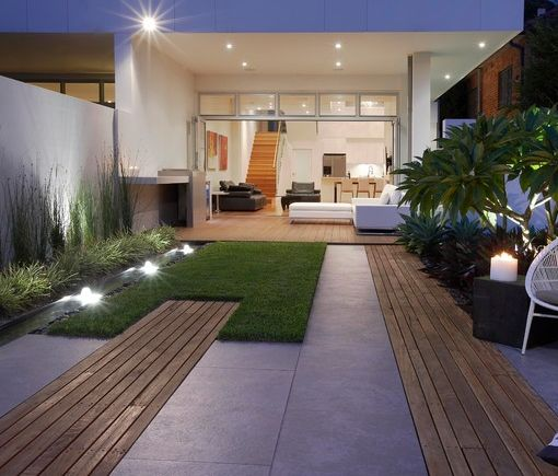 combined textures of decking/wood path pavers and grass