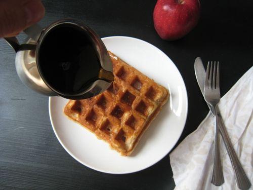 maple syrup on waffle