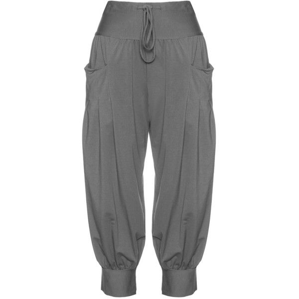 Isolde Roth Graphit-Grey Plus Size Loose balloon pants (140 AUD) ❤ liked on Polyvore featuring pants, plus size, harem trousers, plus size trousers, harem pants, gray trousers and flat-front pants